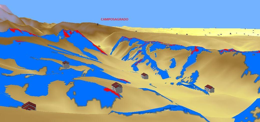 Vista en 3D de un valle en la zona de solape