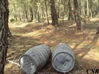 Son los barriles donde se almacena la miera para luego llevarla al almacén
